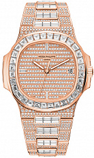 Часы Patek Philippe Nautilus Rose Gold Full Pave Diamonds Custom